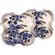 19th Century Pair English Porcelain Blue and White Transfer Ware Dessert Dishes