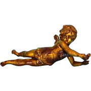 Antique French Gilt Metal Winged Putto