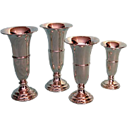 Mid-century English Sterling Silver Trumpet-form Vases by Charles Green and Co