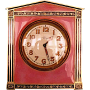 SOLD Early 20th Century Swiss Sterling Silver and Guilloche Enamel 8-day Travel Clock by Conco
