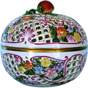 Vintage Hand-painted Herend Pierced Covered Porcelain Strawberry Bowl