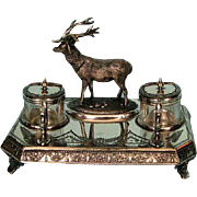19th Century Victorian Silverplate Inkstand by James Deakin and Sons