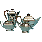 Mid-century Vintage Four-piece Art Deco Silver Plate Tea and Coffee Service by Frank Cobb, She