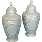Mid-century Pair White Porcelain Covered Urns by KPM, Berlin