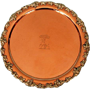 19th Century Crested Copper Waiter with Grape and Vine Mounts by Waterhouse Hatfield & Co, She