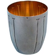Antique French First Standard Silver Art Deco Beaker with Gilt Interior by Denis Gérard, Pari