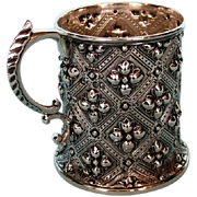 19th Century English Sterling Silver Gothic-revival Mug by Robert Hennell III