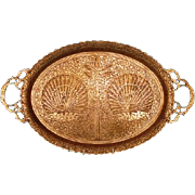 1930s Indian Benares Brass Two-handled Tray with Peacock Motif