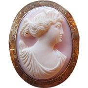 Antique Edwardian Coral Cameo 10K Gold Circa 1910