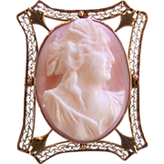Antique Edwardian Queen Conch Shell Cameo Brooch 10K circa 1910