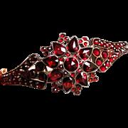 Antique Victorian Bohemian Garnet Bangle Bracelet Circa 1850