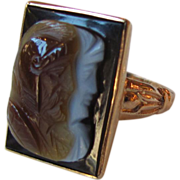 Antique Victorian 12K Agate Double Cameo Ring Circa 1875