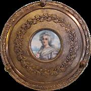 Antique French Gilt Bronze  Portrait Miniature Jewelry Box Circa 1900