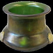 Antique Kralik Art Glass Vase Green Glatt Tri-Claw Circa 1900