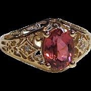 Vintage 14K Filigree Pink Tourmaline and Diamond Ring 1930's
