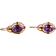 Antique French 14K Rose Gold Amethyst Earrings Circa 1880