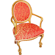 Antique Fournier Style Giltwood Rope Arm Chair 1890's
