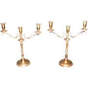 Pair Antique Brass Candleabras Early 19th Century