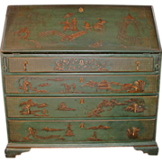 Antique American Slant Front Desk Chinoisserie Painted Circa 1800