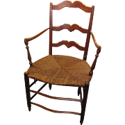 Antique French Provincal Arm Chair with Rush Seat 18th Century