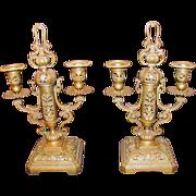 Pair Antique Gilt Bronze Candleabra Circa 1820 European