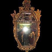 Large Antique English or American Adams Style Gilt Mirror 19th Century