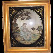Antique English Georgian Needlework Picture Circa 1790