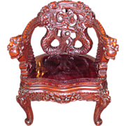 Antique Asian Highly Carved Dragon Chair Circa 1900