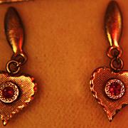 SALE Ruby Earrings Stud Posts Hearts Original Box