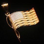 "SALE PENDING 14k Flag Pendant Patriotic USA ""God Bless America"""