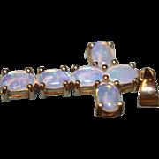 SALE 14K Opal Cross Pendant Crystal Purples Blues Natural Genuine