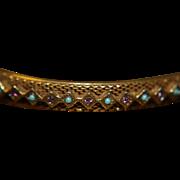 SALE Bangle Bracelet Amethyst Turquoise Beads Gold Washed
