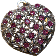 SALE Pendant Garnet Filigree Heart Puffy 925