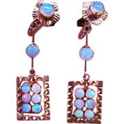 SALE 14k Opal Earrings Dangle Victorian Rose Gold