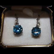 SALE Blue Topaz Earrings Large Sterling Silver Original Box
