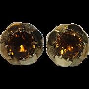 SALE 14k Citrine Earrings Studs Post Pierced Large 6mm