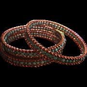 SALE Turquoise Bangle Bracelets Bead Genuine Gold Wash Large