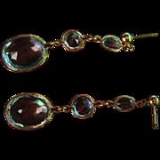 SALE Antique Earrings Drop Dangles Blue Topaz Rose Cut