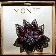 SALE Monet Christmas Poinsettia Pin Brooch Original Box