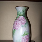 SALE Antique HP Vase Roses Vase Blank Artist Signed Hand Painted