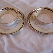 SALE Vintage Noritake China Gacahad 103004 Double Soup Bowls (2) w/ Saucers (2) Black Gold ...