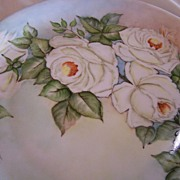 SALE Large Bavarian Plate Hand Painted White Roses Signed