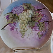 SALE Large Bavarian Plate Hand Painted Grape Wreath Signed