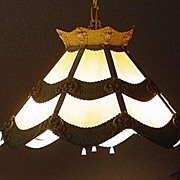 SALE Slag Glass Light Chandelier Iron Vintage Unique Design