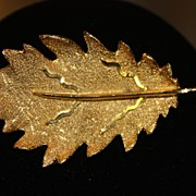 SALE Signed BS Gold Tone Leaf Brooch Pin Fall Autumn Textured
