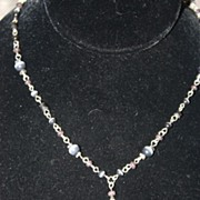 SALE Vintage Signed NY Necklace Grey Stones Beads Silvertone