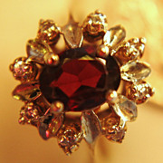 SALE Vintage Garnet Diamonds Ring Sterling Silver 925