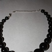 SALE Vintage Black Beaded Necklace Lucite Silvertone Finish