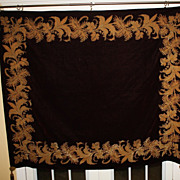 SALE Antique Huge Tapestry Velvet Gold Metallic Decoration Burgundy Large