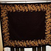 SALE Antique Huge Tapestry Velvet Gold Metallic Decoration Burgundy Large
